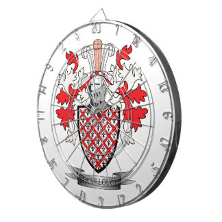 McCullough Family Crest Coat of Arms Dartboard