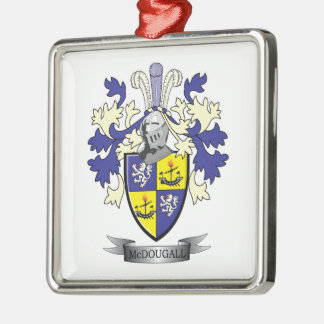 McDougall Family Crest Coat of Arms Silver-Colored Square Ornament