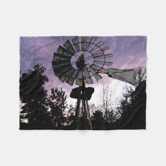 mcful Watercolor Windmill Evening Scene Fleece Blanket