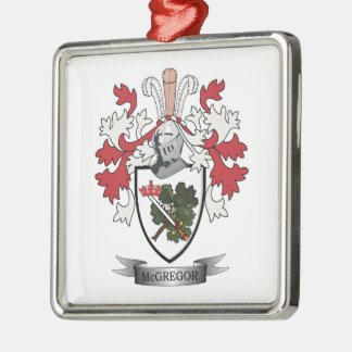 McGregor Family Crest Coat of Arms Silver-Colored Square Ornament