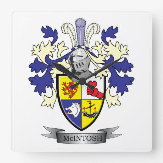 McIntosh Family Crest Coat of Arms Square Wall Clock