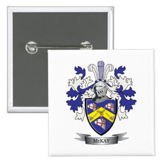 McKay Family Crest Coat of Arms 2 Inch Square Button