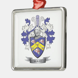 McKay Family Crest Coat of Arms Silver-Colored Square Ornament