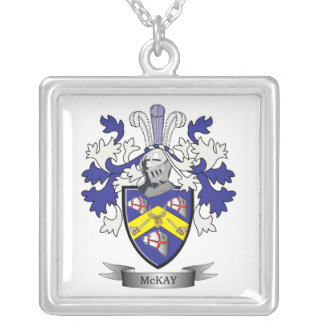 McKay Family Crest Coat of Arms Silver Plated Necklace