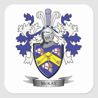 McKay Family Crest Coat of Arms Square Sticker