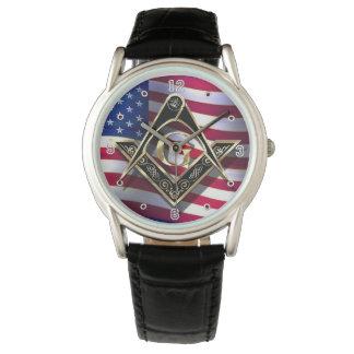 McKim's Black/Gold Square & Compasses Patriotic Watch