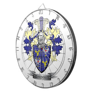 McKinney Family Crest Coat of Arms Dartboard