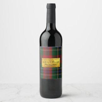 McLean Tartan Plaid Wedding Wine Label