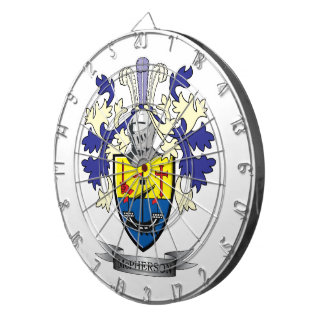 McPherson Family Crest Coat of Arms Dartboard With Darts