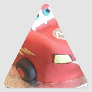 McQueen car cake Triangle Sticker