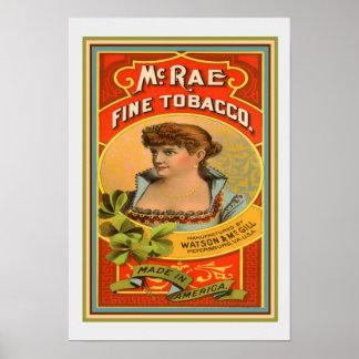 McRae Fine Tobacco Vintage Ad Print 13 x 19