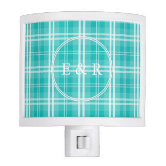 McTiffany Aqua Blue Tartan Scottish Plaid Night Lite