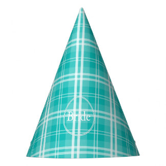 McTiffany Aqua Blue Tartan Scottish Plaid Party Hat