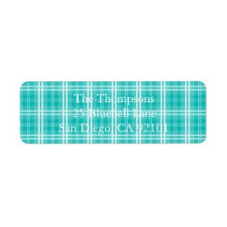 McTiffany Aqua Blue Tartan Scottish Plaid Return Address Label