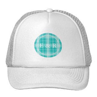 McTiffany Aqua Blue Tartan Scottish Plaid Trucker Hat