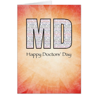 MD Happy Doctors' Day with Red and Yellow Backgrou Card