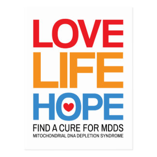 MDDS awareness postcard - find a cure