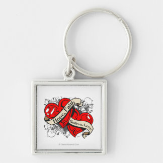MDS Hope Faith Dual Hearts Silver-Colored Square Keychain