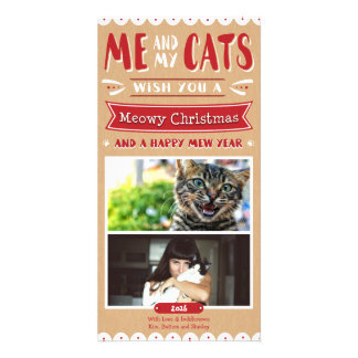 Me and My Cats Christmas 4x8 Photocard (2 Images) Customized Photo Card