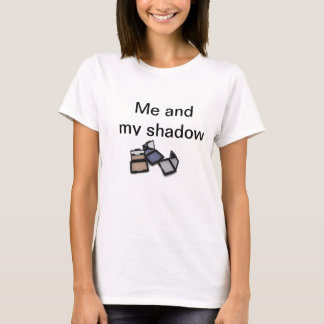 """Me and my shadow"" round neck white ladies t-shirt"