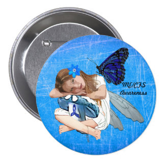 ME/CFS Angel Fairy Girl Awareness Ribbon 3 Inch Round Button