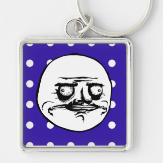 """Me Gusta"" Cute Blue Polka Dot Silver-Colored Square Keychain"