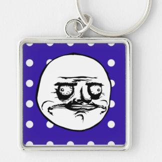 """Me Gusta"" Cute Blue Polka Dot Silver-Colored Square Keychain"