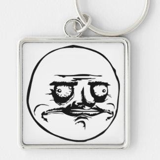 Me Gusta Meme Silver-Colored Square Keychain