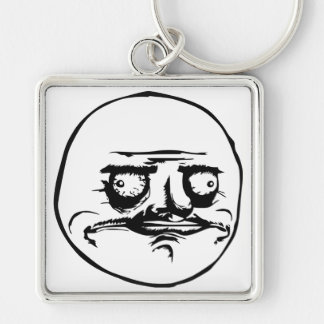 Me Gusta Meme Silver-Colored Square Keychain