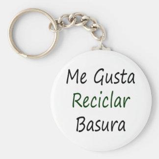 Me Gusta Reciclar Basura Keychain