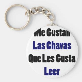 Me Gustan Las Chavas Que Les Gusta Leer Basic Round Button Keychain