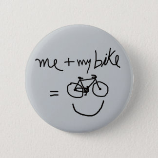 me & my bike = happiness 2 inch round button