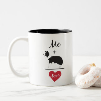 Me plus Border Collie equal Love Two-Tone Mug