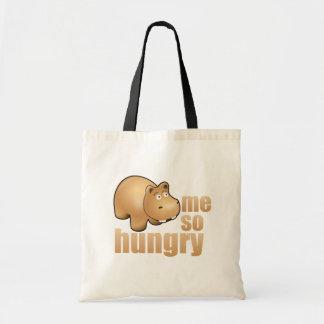 me so hungry funny hippo reusable tote bag