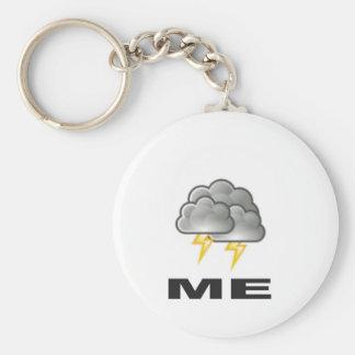 me thunder basic round button keychain