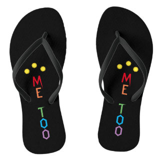 ME TOO in Rainbow Colors Black Flip Flops