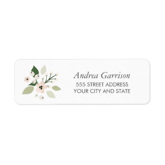Meadow Blooms Return Address Label - white