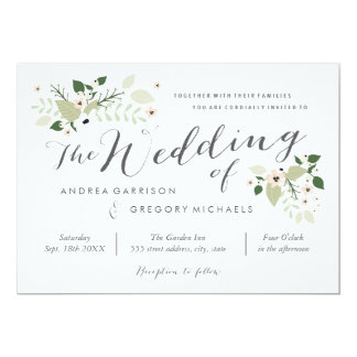 Meadow Blooms Wedding Invitation -white