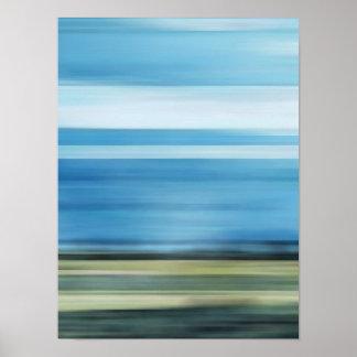Meadow Field Sky Cloud Landscape Blue Green Gray Poster