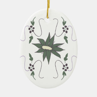 Meadow flower ceramic oval ornament