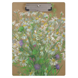 """""""Meadow Flowers"""", pastel painting, white daisies Clipboards"""