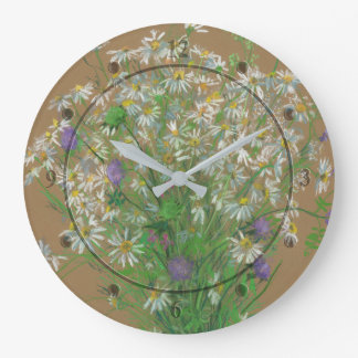 Meadow flowers, pastel painting, white daisies wall clocks