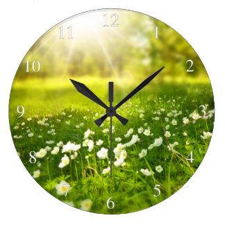 Meadow Flowers Sunlight Large Clock