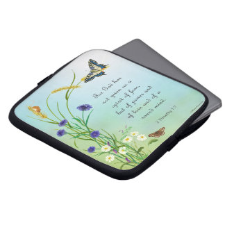 Meadow Flowers Watercolor Butterfly 2 Timothy Laptop Computer Sleeves