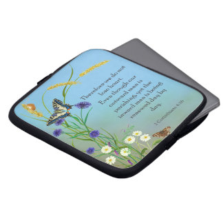 Meadow Flowers Watercolor Butterfly Laptop Sleeve