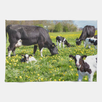 Meadow full of dandelions with grazing cows kitchen towel