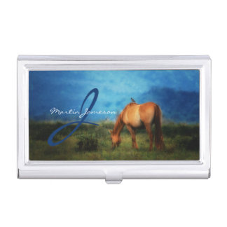 Meadow Horse with Bird Monogrammed Business Card Holder