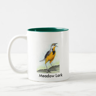 Meadow Lark 2 sided mug with green interior