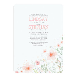 Meadow Pink Flowers Watercolor Engagement Party Card