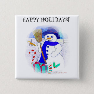 Meadow Snowman 2 Inch Square Button